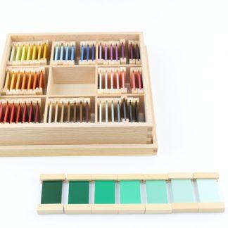 Caja de 63 tabletas de colores - material montessori-vista frontal