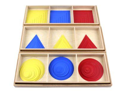 Círculos triángulos y cuadrados de color - Material Montessori-vista frontal