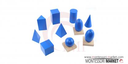 incluye 10 cuerpos geométricos (un cilindro, cubo, elipsoide, cono, esfera, pirámide de base cuadrada, pirámide de base triangular, ovoide, prisma rectangular, y un prisma triangular) hechos de madera de alta calidad,vista superior,foto redes sociales,mm