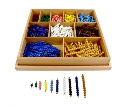 Quality Premium Decanomio de perlas con caja de madera- Material Montessori-vista frontal
