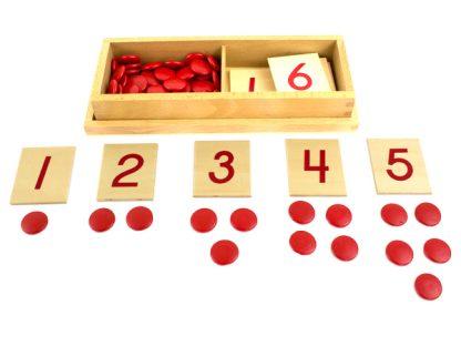 fichas y numerales-vista frontal-material montessori