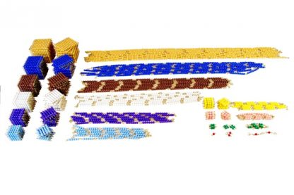 Este material Montessori está diseñado para contener el conjunto de todas las perlas