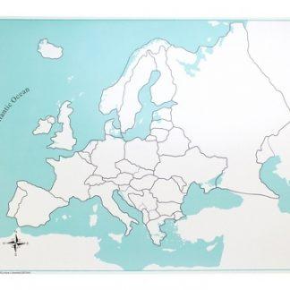 Mapa Control de Europa. Sin etiquetas - Material Montessori- vista frontal