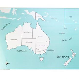 Mapa de Control: Australia- Material Montessori-vista frontal