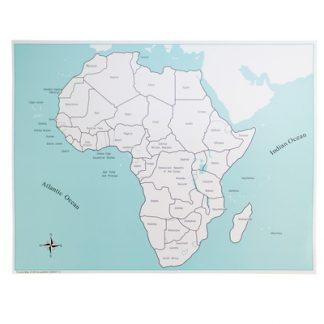Mapa de control de África Con etiquetas- Material Montessori-vista frontal
