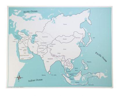 Mapa de Control: Asia con etiquetas- Material Montessori-vista frontal