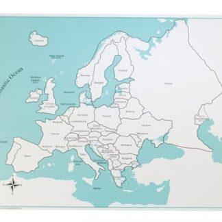 Mapa de Control: Europa - Material Montessori-vista frontal