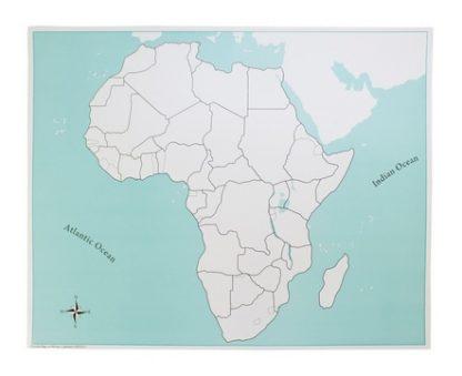 Mapa puzzle de África Sin etiquetas- Material Montessori- vista frontal