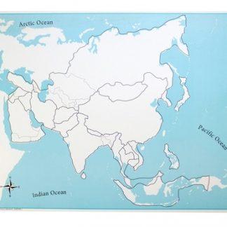 Mapa de control de Asia sin etiquetas - Material Montessori