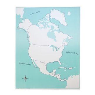 Mapa control de Norte America. Sin etiquetas - Material Montessori- vista frontal