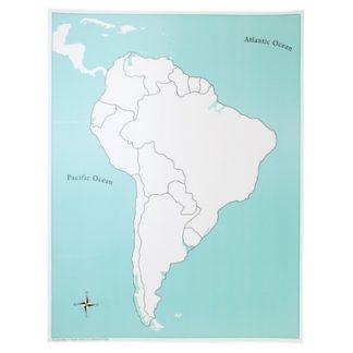 Mapa puzzle de Sud América Sin etiquetas-Material Montessori