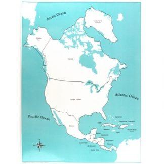 Mapa puzzle de Norte America con etiquetas - Material Montessori-vista frontal