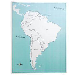 Mapa control de Sud América Con etiquetas- Material Montessori-vista frontal