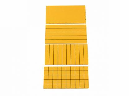 Material amarillo para cálculo de área - Material Montessori- vista frontal