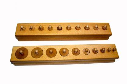 Pack 4 bloques de cilindros de madera - vista en frontal - Material Montessori