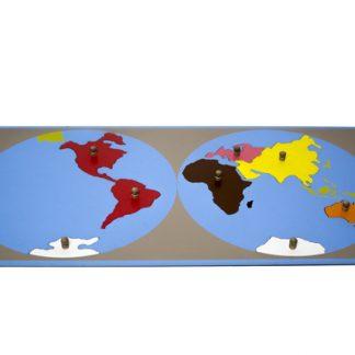 Puzzle Mapa de las Partes del Mundo - Material Montessori-vista frontal