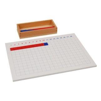 Tabla de tiras de la suma-vista frontal-material montessori