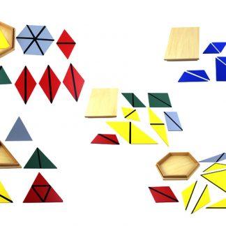 Triángulos constructores de madera-Material Montessori-vista frontal
