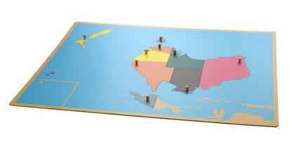 Puzzle: Mapa de Australia - Material Montessori-vista frontal