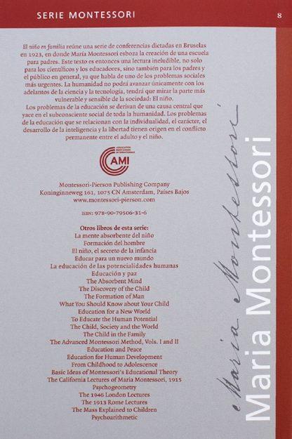 Libro El niño en familia -Material Montessori