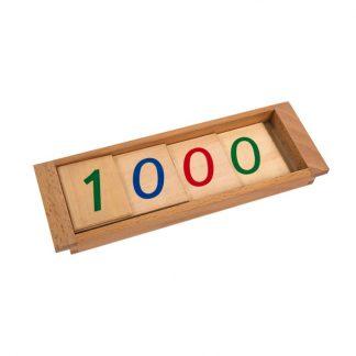 Grandes tarjetas de números con caja - Material Montessori