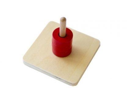 MMM012 - Discos en clavija vertical - Material Montessori - vista diagonal derecha