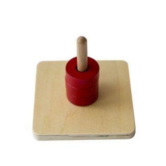 MMM012 - Discos en clavija vertical - Material Montessori - vista frontal