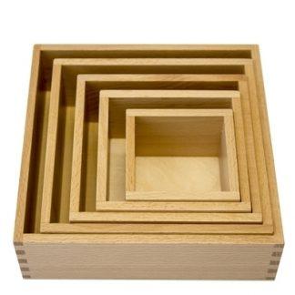 MMM021 - Caja de nido 5 cajas de madera- Material Montessori- Vista frontal