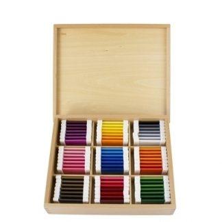 MMM072 - Tabletas de color de plástico (3a caja) - Material Montessori - vista frontal con tapa abierta