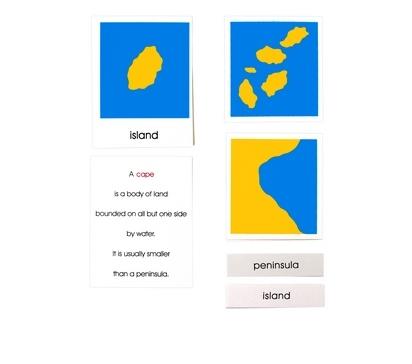 Tarjetas de tierra y agua: Set 1 y 2 (solo tarjetas)-Material Montessori-vista frontal