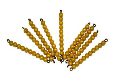 9 Barras de perlas doradas-Material Montessori-vista frontal