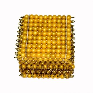 Cuadrados perlas doradas-Material Montessori-vista frontal