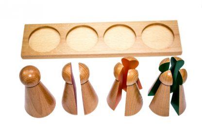 4 figuras grandes que representan un todo y divisores de 1/2, 1/3 y 1/4 con bandeja.