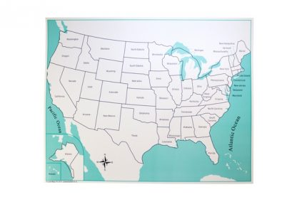 Mapa control: EEUU con etiquetas - Material Montessori-vista frontal