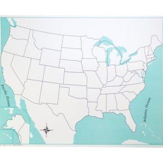 Mapa control: EEUU sin etiquetas-Material Montessori-vista frontal