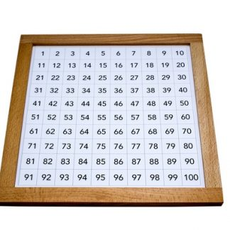 Tabla del cien con marco de madera - Material Montessori