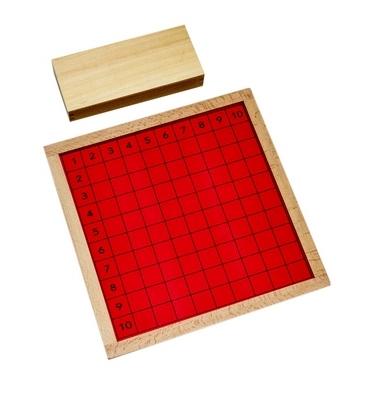 Este material consiste en un tablero de madera cuadiculado de color rojo con números del 1 al 10 tanto en vertical como en horizontal,vista superior,foto redes sociales,mmm303