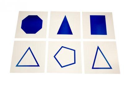 Tarjetas con formas Geométricas-Material Montessori-vista frontal