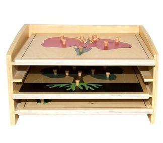 Gabinete con 3 puzzles de botánica - Material Montessori