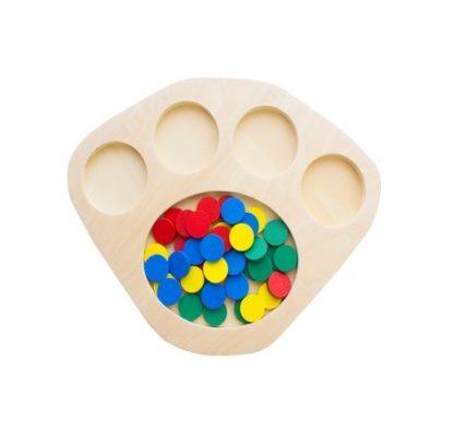 Bandeja de Madera con Fichas de Colores-Material Montessori-vista frontal