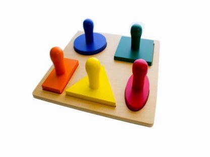 Puzzle de Madera con 5 Formas Geométricas-Material Montessori-vista frontal