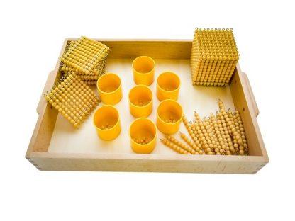 Set de Perlas Doradas Completo-Material Montessori-vista frontal